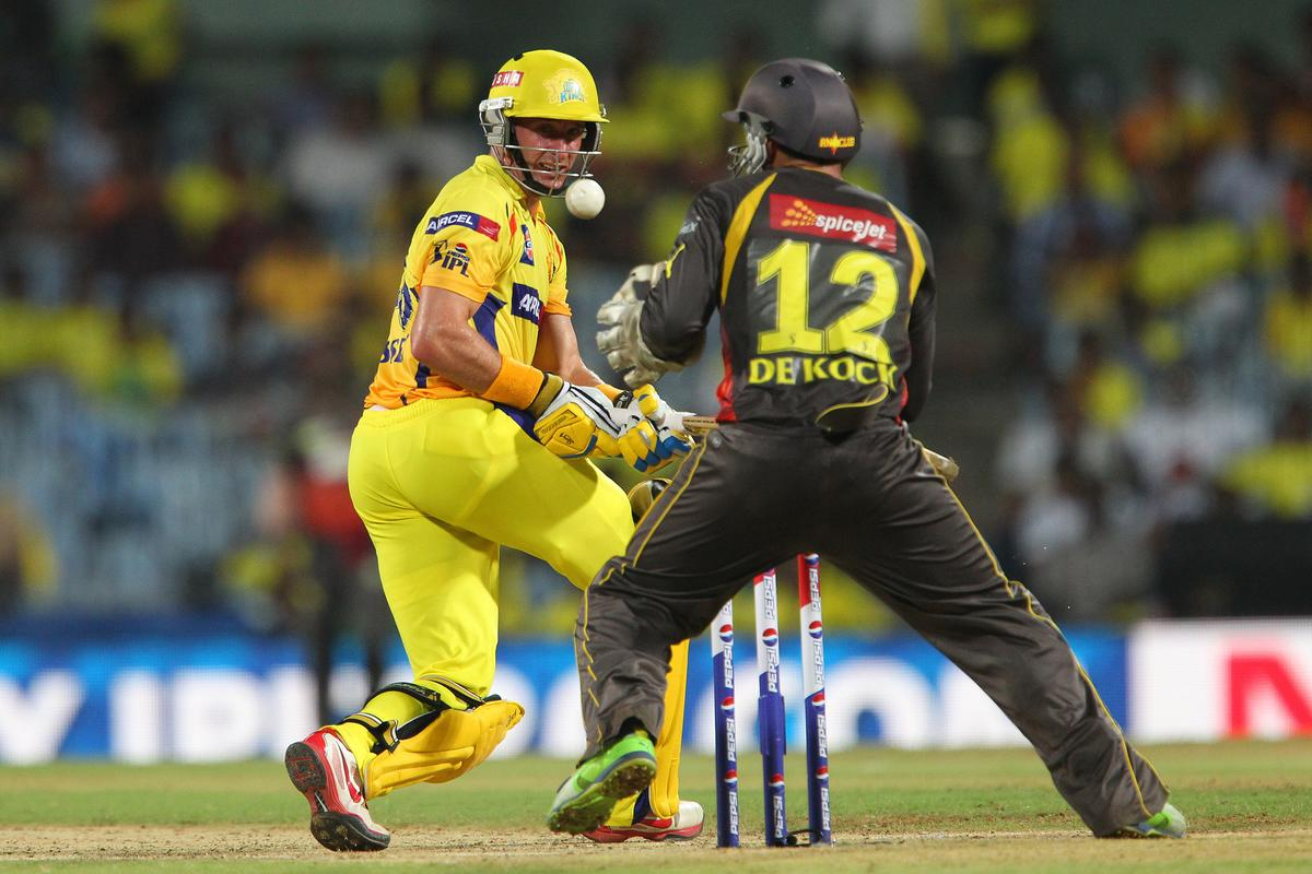 Michael Hussey is caught behind by Quinton de Kock during match 34 of the Pepsi Indian Premier League between The Chennai Superkings and the Sunrisers Hyderabad held at the MA Chidambaram Stadiumin Chennai on the 25th April 2013. (BCCI)