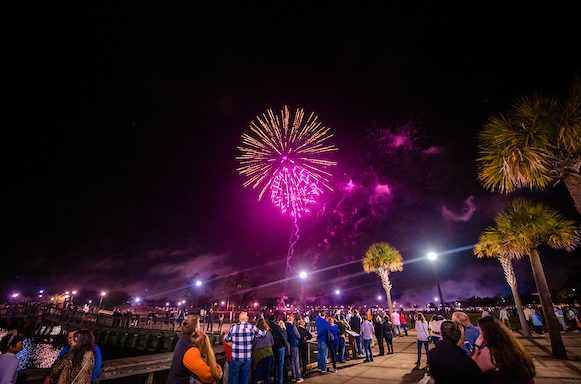 The Market Commons hosts free community events, like this exciting fireworks display.