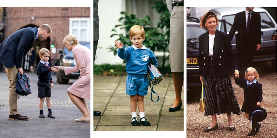 """<p>All three of Prince William and Kate Middleton's children are now at school or nursery. Prince Louis started at Willcocks Nursery School in April, with his big brother and sister Prince George and Princess Charlotte <a href=""""https://www.cosmopolitan.com/uk/reports/a27588474/princess-charlotte-school-thomas-battersea-prince-george/"""" rel=""""nofollow noopener"""" target=""""_blank"""" data-ylk=""""slk:both attending Thomas's Battersea"""" class=""""link rapid-noclick-resp"""">both attending Thomas's Battersea</a>.</p><p>Starting school and nursery is a big moment for any child, but for the royal family, whose first days are broadcast to the world, they're an even bigger deal. Here, we take a look back at some of the royals' first days at school and nursery - from an adorable Princess Beatrice in her hat, to a smart looking Prince Harry on his first day at Eton.</p>"""