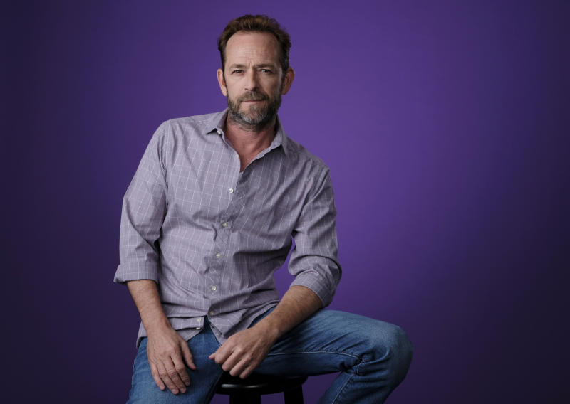 Actor Luke Perry poses for a portrait during the 2018 Television Critics Association Summer Press Tour, Monday, Aug. 6, 2018, in Beverly Hills, Calif. (Photo by Chris Pizzello/Invision/AP)