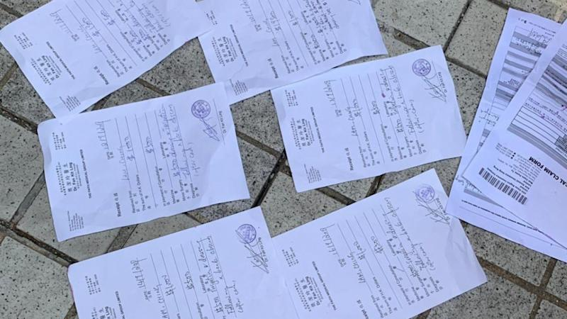 Receipts for medical treatment, including one post-dated, found following scuffles between rival protesters in Hong Kong