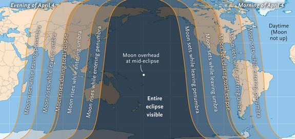 This sky map shows around the world will see the total lunar eclipse on April 4, 2015.