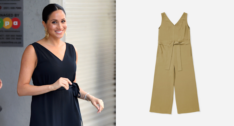 Meghan Markle in the Everlane Japanese GoWeave Essential Jumpsuit.