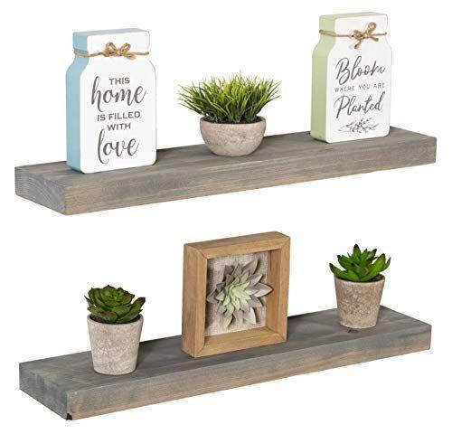 """<p><strong>Imperative Décor</strong></p><p>amazon.com</p><p><a href=""""https://www.amazon.com/dp/B07R3WMSYF?tag=syn-yahoo-20&ascsubtag=%5Bartid%7C10049.g.36078451%5Bsrc%7Cyahoo-us"""" rel=""""nofollow noopener"""" target=""""_blank"""" data-ylk=""""slk:CHECK PRICE"""" class=""""link rapid-noclick-resp"""">CHECK PRICE</a></p><p>Floating shelves are a fun way to show off whatever decor you have while<strong> taking up little space</strong>. Install each one with a screwdriver, and they're ready to support up to 20 pounds of decor. Black, dark walnut, and reclaimed wood styles are also available.<br></p><p><strong>Reviews:</strong> 2k<strong><br>Star rating:</strong> 4.5 </p>"""