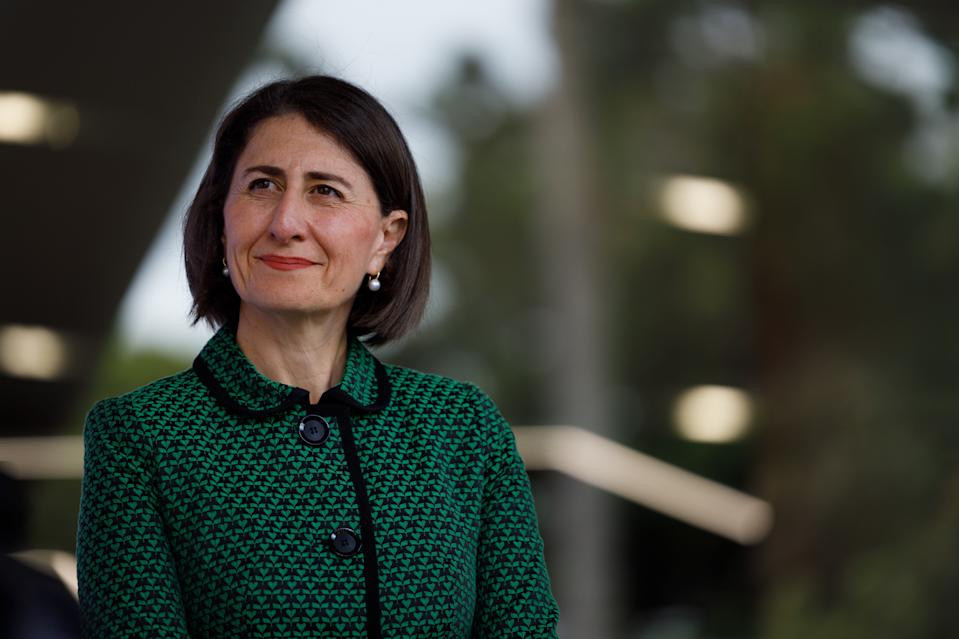 NSW Premier Gladys Berejiklian is seen during a press conference in Sydney.