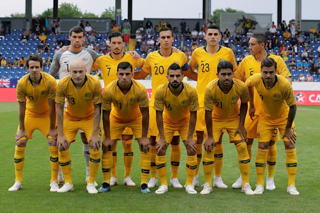 Soccer Football - International Friendly - Czech Republic v Australia - NV Arena, Sankt Polten, Austria - June 1, 2018 Australia players pose for a team group photo before the match REUTERS/Heinz-Peter Bader
