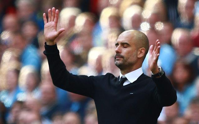 <span>Pep Guardiola, the Manchester City manager, has plenty to work on if he wants to see his side play Champions League football next season</span> <span>Credit: REX FEATURES </span>