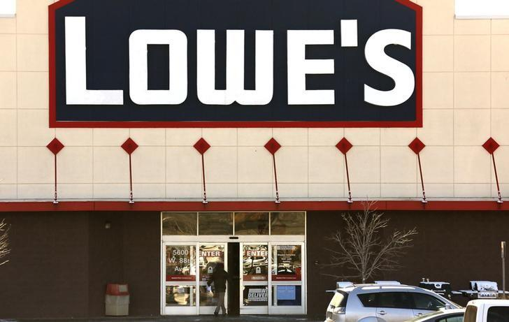 A view of the sign outside the Lowes store in Westminster