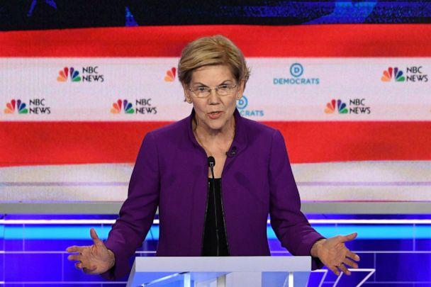 PHOTO: Elizabeth Warren participates in the first Democratic primary debate hosted by NBC News at the Adrienne Arsht Center for the Performing Arts in Miami, Florida, June 26, 2019. (Jim Watson/AFP/Getty Images)