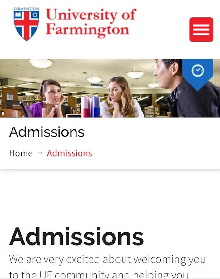 """Admissions section of the website of the University of Farmington, a fake university created by ICE and Dept. of Homeland Security. It reads: """"We are very excited about welcoming you to the UF community and helping you"""""""
