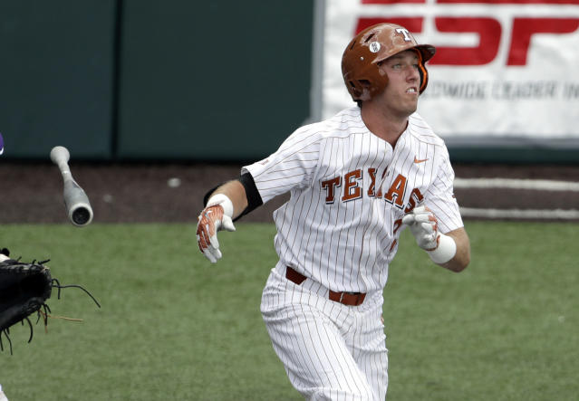 Texas' Kody Clemens (2) reacts as he flies out in the fifth inning of an NCAA college super regional baseball game against Tennessee Tech, Monday, June 11, 2018, in Austin, Texas. (AP Photo/Eric Gay)
