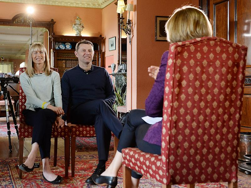 Kate and Gerry McCann, whose daughter Madeleine disappeared ten years ago, during an interview with the BBC's Fiona Bruce: PA