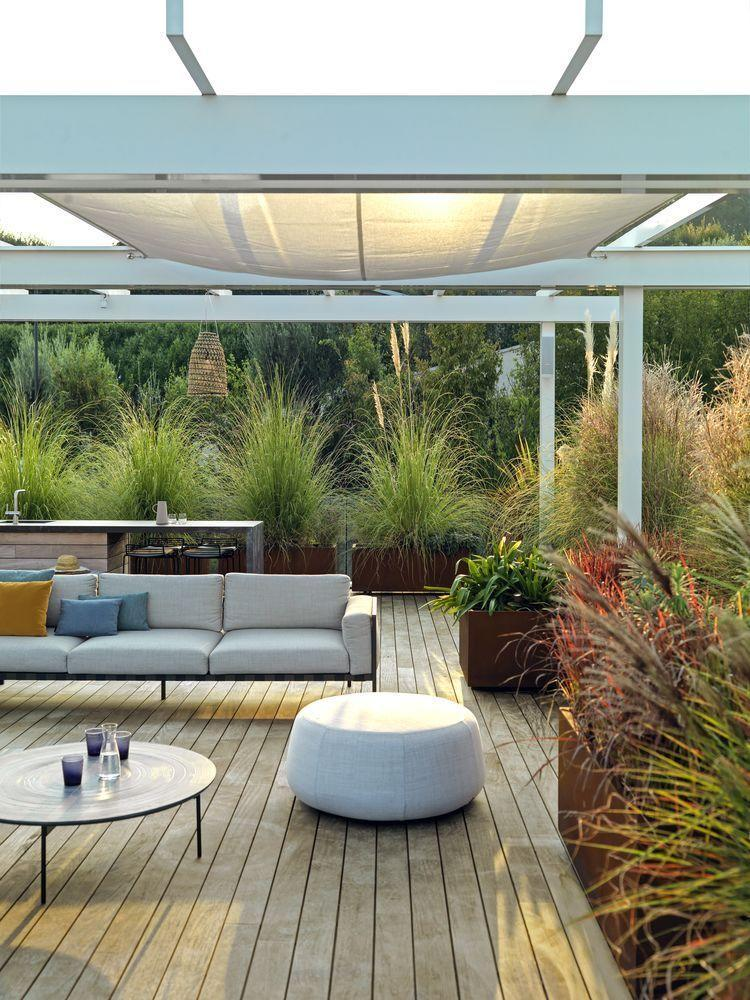 """<p>Thrilled as we are to see the sunshine, a bit of shade is always welcome. Options range from simple sails that can be attached to existing buildings or fences, to awnings, plant-covered pergolas and permanent pavilions. Whichever you choose, all will help zone your space. A large, permanent canopy structure is an integral device in this elegant terrace by interior designer Martina Hunglinger. For a similar canopy, try <a href=""""https://kettal.com/living/en/"""" rel=""""nofollow noopener"""" target=""""_blank"""" data-ylk=""""slk:Kettal"""" class=""""link rapid-noclick-resp"""">Kettal</a>.</p>"""
