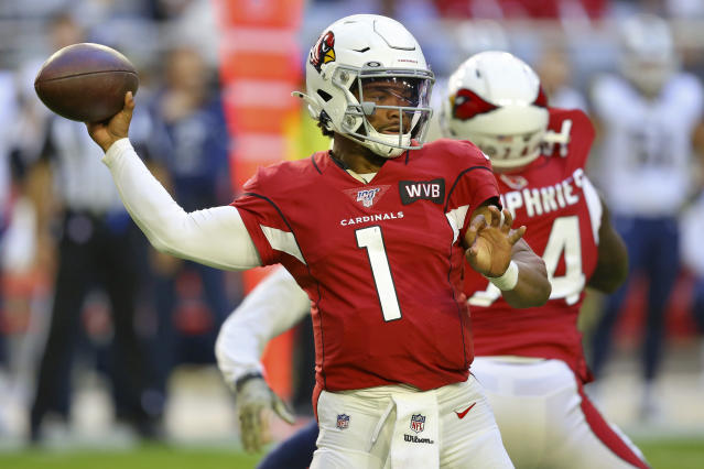 Arizona Cardinals quarterback Kyler Murray (1) throws against the Los Angeles Rams during the first half of an NFL football game, Sunday, Dec. 1, 2019, in Glendale, Ariz. (AP Photo/Ross D. Franklin)