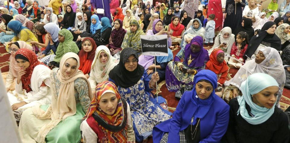 """<span class=""""caption"""">Muslim women at a prayer service at a mosque in Redmond, Washington, to mark the end of Ramadan and the start of Eid-al-Fitr in 2016.</span> <span class=""""attribution""""><a class=""""link rapid-noclick-resp"""" href=""""http://www.apimages.com/metadata/Index/Inslee-Prayer-Services/fcc7cb27069e4084844b22d708433180/56/0"""" rel=""""nofollow noopener"""" target=""""_blank"""" data-ylk=""""slk:AP Photo/Ted S. Warren"""">AP Photo/Ted S. Warren</a></span>"""