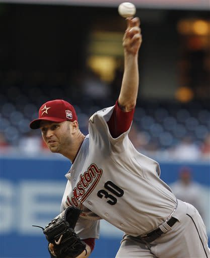 Houston Astros starting pitcher J.A. Happ works against the San Diego Padres during the first inning of a baseball game Monday, July 16, 2012 in San Diego. (AP Photo/Lenny Ignelzi)