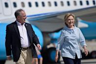 Democratic presidential nominee Hillary Clinton and her running mate Tim Kaine (AFP Photo/Brendan Smialowski)
