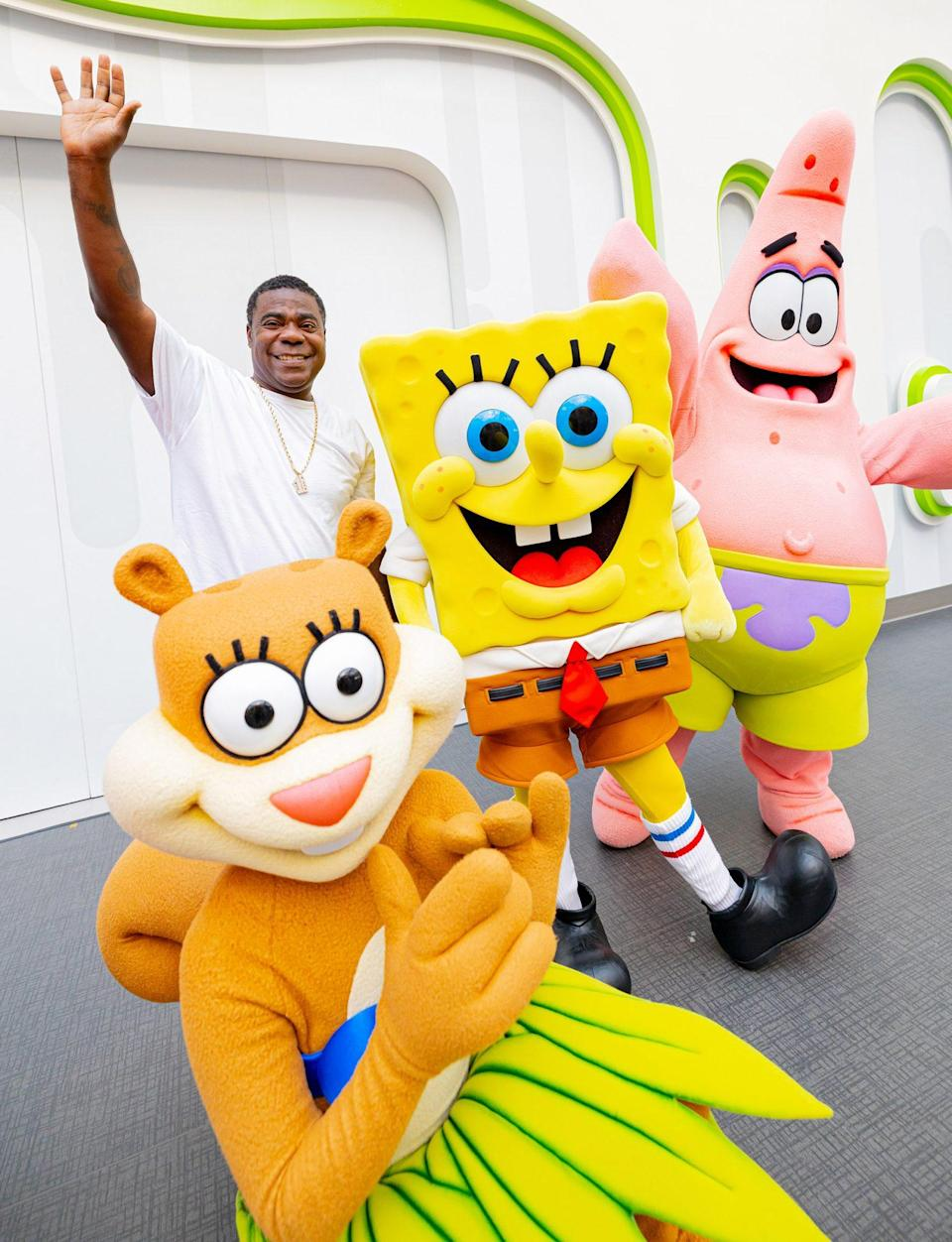 <p>Tracy Morgan stops by Nickelodeon Universe Theme Park in New Jersey to celebrate the birthday of Spongebob Squarepants.</p>