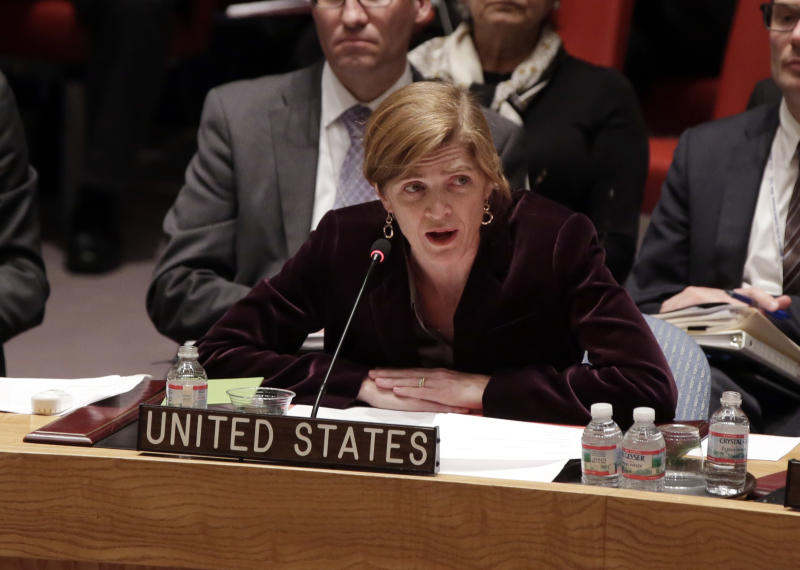 The United States Ambassador to the United Nations Samantha Power addresses the United Nations Security Council, Friday, May 2, 2014. The U.N. Security Council is meeting in emergency session on Ukraine after Russia called for a public meeting on the growing crisis there. (AP Photo/Richard Drew)