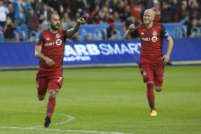 "<a class=""link rapid-noclick-resp"" href=""/soccer/teams/toronto-fc/"" data-ylk=""slk:Toronto FC"">Toronto FC</a> is the favorite to win MLS Cup, but in this league, that won't get you far. (AP)"