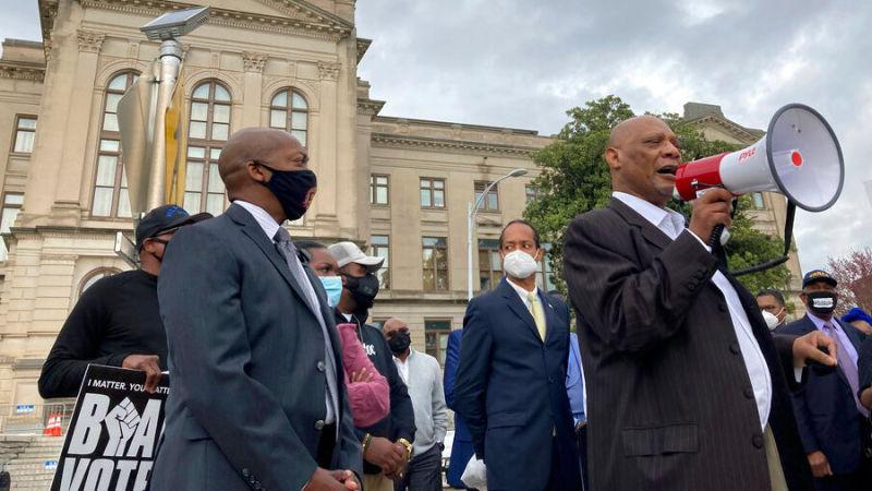 African Methodist Episcopal Church Bishop Reginald Jackson outside the Georgia Capitol on Thursday, March 25, 2021 in Atlanta.