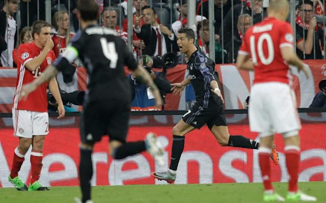Ronaldo celebrates scoring in the first leg - AP