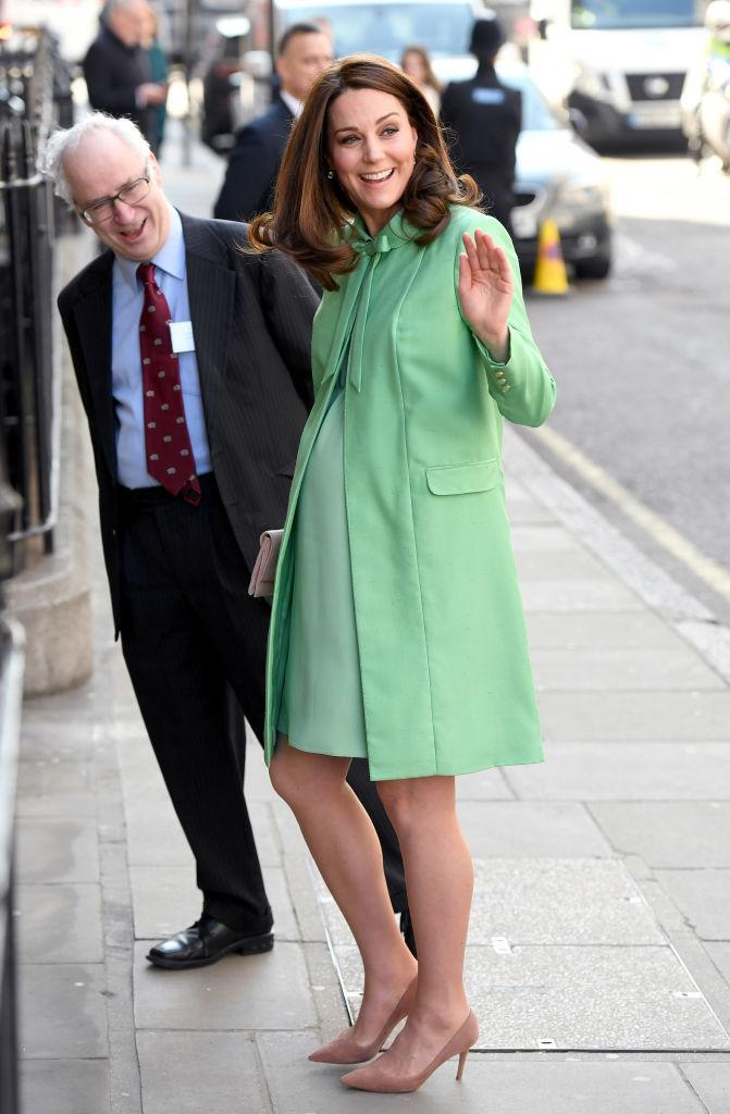 <p>For one of her final royal engagements before maternity leave, the Duchess of Cambridge welcomed spring in a mint Jenny Packham ensemble. She accessorised the look with a co-ordinating Loeffler Randall clutch and Gianvito Rossi heels. <em>[Photo: Getty]</em> </p>