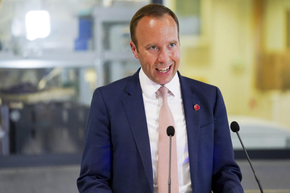 Britain's Health Secretary Matt Hancock delivers a speech on the COVID-19 vaccine programme at the Jenner institute in Oxford, England, Wednesday, June 2, 2021. (Jacob King/Pool Photo via AP)