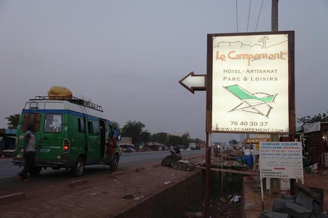 <p>A sign points to Campement Kangaba, a hotel resort, near Bamako, Mali, Sunday, June 18, 2017. Suspected jihadists attacked the hotel resort Sunday in Mali's capital, taking hostages at a spot popular with foreigners on the weekends. (Baba Ahmed/AP) </p>