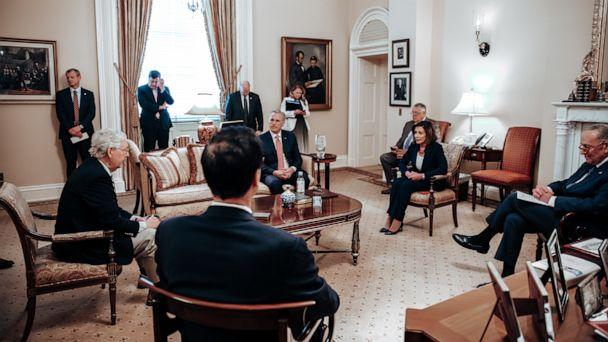 PHOTO: Senate Majority Leader Mitch McConnell hosted Speaker of the House Nancy Pelosi in his office to discuss the Coronavirus Aid, Relief, and Economic Security (CARES) Act, March 22, 2020. (Office of Senate Majority Leader)