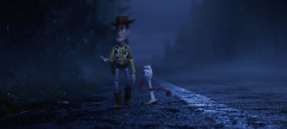 Woody and Forky head off on an adventure in<em> Toy Story 4.</em> (Image: Toy Story 4)