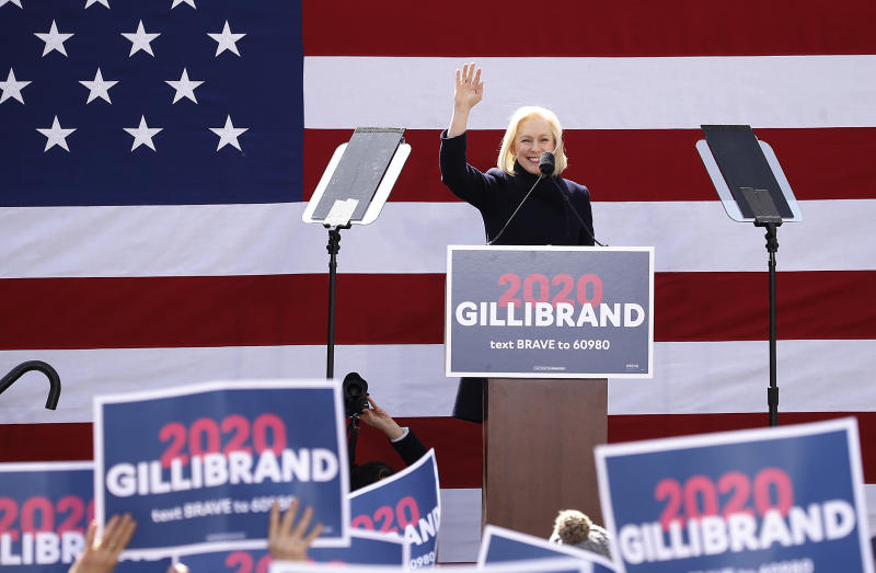 Kirsten Gillibrand speaks during her kickoff rally in New York City. | John Lamparski—Getty Images