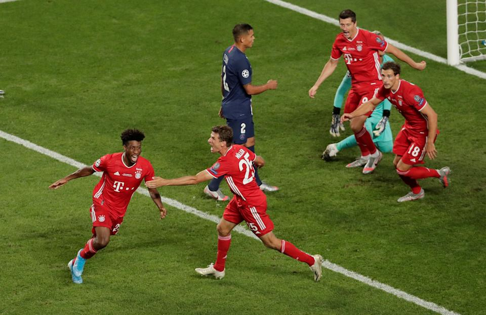 Soccer Football - Champions League - Final - Bayern Munich v Paris St Germain - Estadio da Luz, Lisbon, Portugal - August 23, 2020  Bayern Munich's Kingsley Coman scores their first goal with Thomas Muller, as play resumes behind closed doors following the outbreak of the coronavirus disease (COVID-19)  Manu Fernandez/Pool via REUTERS     TPX IMAGES OF THE DAY