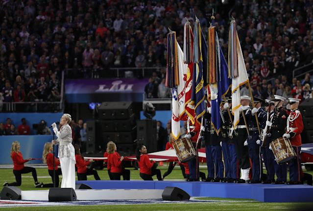 Pink hit the under with her national anthem performance in Super Bowl LII. (AP Photo)