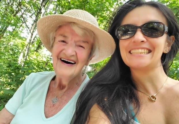 Annie Brown and her granddaughter Kelly Gaba pose for a picture. Brown passed away on June 29, 2021. (Submitted by Kelly Gaba - image credit)