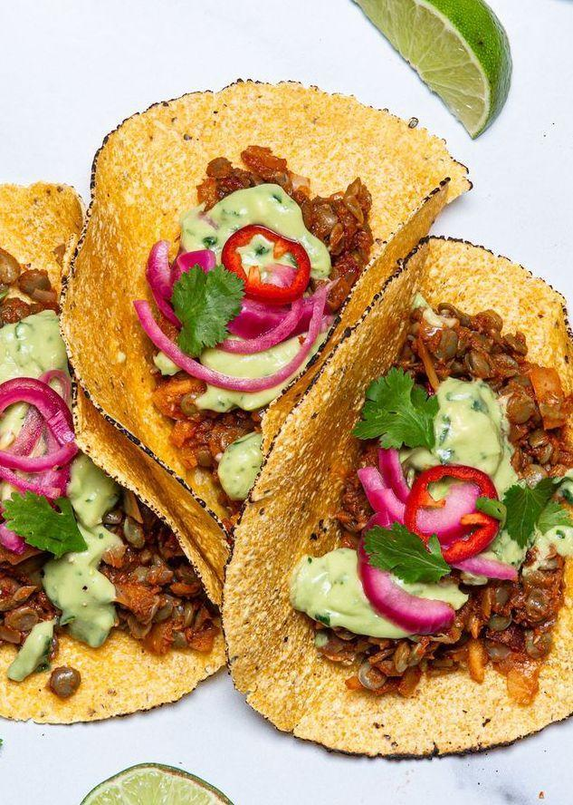 """<p>These vegan tacos are loaded with bright flavours and a variety of textures—just like any good taco should be! Serve them up with some <a href=""""https://www.delish.com/uk/cocktails-drinks/a33441209/frozen-blue-moscato-margaritas-recipe/"""" rel=""""nofollow noopener"""" target=""""_blank"""" data-ylk=""""slk:frozen margaritas"""" class=""""link rapid-noclick-resp"""">frozen margaritas</a> and <a href=""""https://www.delish.com/uk/cooking/recipes/a29947768/best-ever-guacamole-recipe/"""" rel=""""nofollow noopener"""" target=""""_blank"""" data-ylk=""""slk:homemade guacamole"""" class=""""link rapid-noclick-resp"""">homemade guacamole</a> for the full Taco Tuesday experience. </p><p>Get the <a href=""""https://www.delish.com/uk/cooking/recipes/a33542524/vegan-tacos-recipe/"""" rel=""""nofollow noopener"""" target=""""_blank"""" data-ylk=""""slk:Vegan Chipotle Lentil Tacos"""" class=""""link rapid-noclick-resp"""">Vegan Chipotle Lentil Tacos</a> recipe.</p>"""