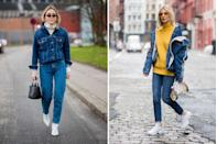 """<p>Keep cozy with a <a href=""""https://www.net-a-porter.com/us/en/Shop/Search?keywords=turtleneck"""" rel=""""nofollow noopener"""" target=""""_blank"""" data-ylk=""""slk:turtleneck sweater"""" class=""""link rapid-noclick-resp"""">turtleneck sweater</a> layered underneath your jacket-leaving the look buttoned or unbuttoned depending on the size of your sweater. </p><p><em>Topshop boxy denim jacket, $42.50, <a href=""""https://shop.nordstrom.com/s/topshop-boxy-crop-denim-jacket/5259297?origin=keywordsearch-personalizedsort&breadcrumb=Home%2FAll%20Results&color=mid%20denim"""" rel=""""nofollow noopener"""" target=""""_blank"""" data-ylk=""""slk:nordstrom.com"""" class=""""link rapid-noclick-resp"""">nordstrom.com</a>.</em></p><p><a class=""""link rapid-noclick-resp"""" href=""""https://shop.nordstrom.com/s/topshop-boxy-crop-denim-jacket/5259297?origin=keywordsearch-personalizedsort&breadcrumb=Home%2FAll+Results&color=mid+denim"""" rel=""""nofollow noopener"""" target=""""_blank"""" data-ylk=""""slk:SHOP"""">SHOP</a><br></p>"""