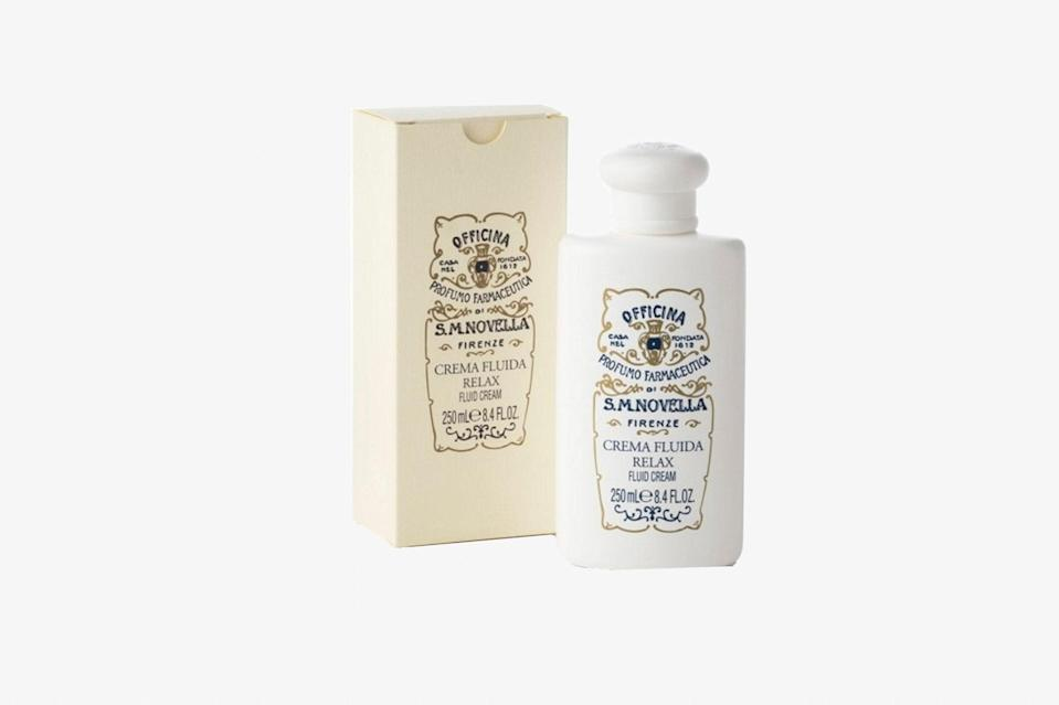 """One advantage—of several—that the Italians have on Americans during this time is their ability to see the big picture, to not sweat the small stuff, to just <em>relax.</em> Especially now, we might as well make like them with spa products that promise to help us do just that. This body lotion, cinnamon-, orange-, and rosemary-scented, is best applied after bathing as an anti-stress treatment. It comes from Florence's <a href=""""https://www.cntraveler.com/shops/florence/officina-profumo-farmaceutica-di-santa-maria-novella?mbid=synd_yahoo_rss"""" rel=""""nofollow noopener"""" target=""""_blank"""" data-ylk=""""slk:Officina Profumo-Farmaceutica di Santa Maria Novella"""" class=""""link rapid-noclick-resp"""">Officina Profumo-Farmaceutica di Santa Maria Novella</a>, a pharmacy that was founded in 1612 and uses its very own secret formulas to this day. $75, Small Flower. <a href=""""https://www.smallflower.com/santa-maria-novella/relax-fluid-cream-250ml-22585"""" rel=""""nofollow noopener"""" target=""""_blank"""" data-ylk=""""slk:Get it now!"""" class=""""link rapid-noclick-resp"""">Get it now!</a>"""