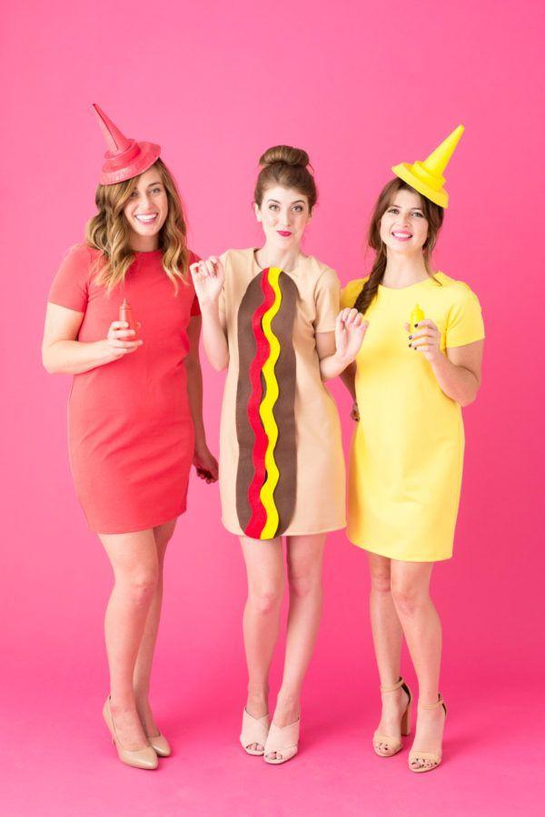 """<p>What's a hot dog without ketchup and mustard?</p><p><strong>Get the tutorial at <a href=""""https://studiodiy.com/2016/10/14/diy-hot-dog-costume/"""" rel=""""nofollow noopener"""" target=""""_blank"""" data-ylk=""""slk:Studio DIY"""" class=""""link rapid-noclick-resp"""">Studio DIY</a>.</strong></p><p><strong><a class=""""link rapid-noclick-resp"""" href=""""https://www.amazon.com/Afibi-Pockets-T-Shirt-Dresses-X-Large/dp/B0778QFGPV/?tag=syn-yahoo-20&ascsubtag=%5Bartid%7C10050.g.21349110%5Bsrc%7Cyahoo-us"""" rel=""""nofollow noopener"""" target=""""_blank"""" data-ylk=""""slk:SHOP TAN DRESS"""">SHOP TAN DRESS</a></strong></p>"""