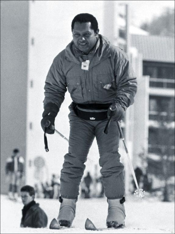 """Former Haitian dictator Jean-Claude Duvalier, known as """"Baby Doc,"""" skiiing in the Alpes in 2000 during his exile in France"""
