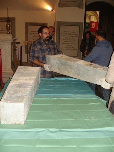 Zinc boxes holding the remains of Giovanni dalle Bande Nere and his wife Maria Salviati