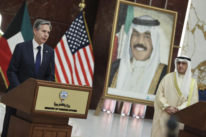 Kuwaiti Foreign Minister Sheikh Ahmad Nasser Al-Mohammad Al-Sabah and U.S. Secretary of State Antony Blinken hold a joint news conference at the Ministry of Foreign Affairs in Kuwait City, Kuwait, Thursday, July 29, 2021. (Jonathan Ernst/Pool via AP)