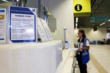 Information for Thomas Cook passengers is placed in front of a counter at Chania Airport after Thomas Cook, the world's oldest travel firm collapsed