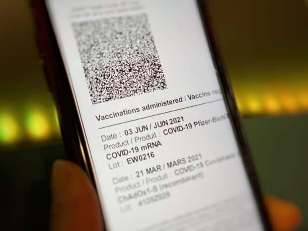 Saskatchewan released its new COVID-19 vaccination records with Quick Response (QR) codes on Sept. 20, 2021.  (Matthew Howard/CBC - image credit)