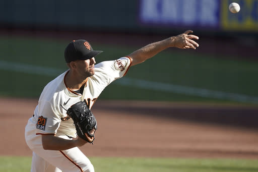 San Francisco Giants starting pitcher Tyler Anderson throws to a San Diego Padres batter during the second inning of the first game of a baseball doubleheader on Friday, Sept. 25, 2020, in San Francisco. (AP Photo/Tony Avelar)