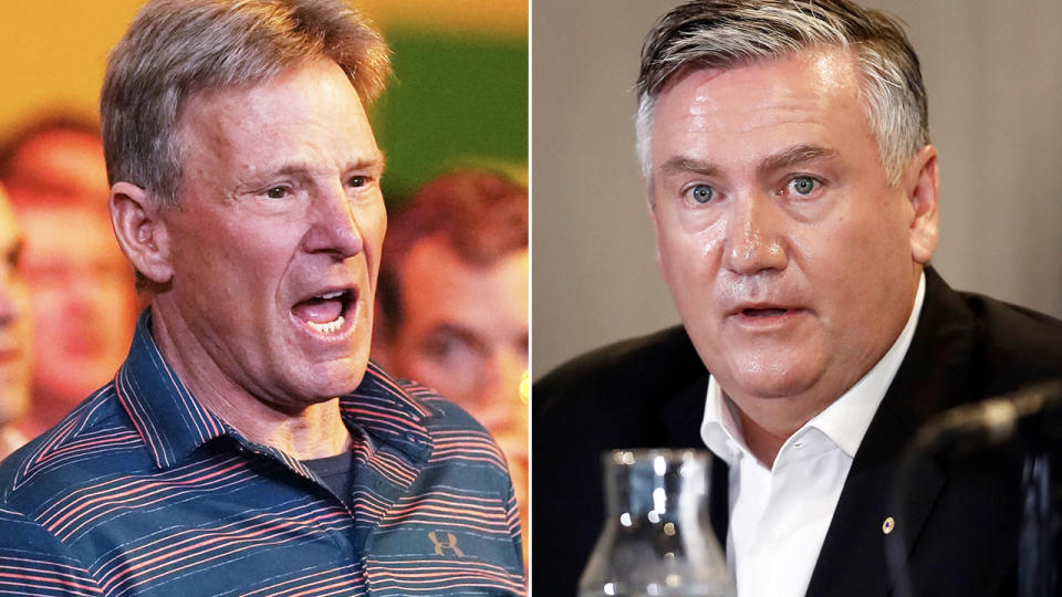 Sam Newman and Eddie McGuire, pictured here speaking to the media.