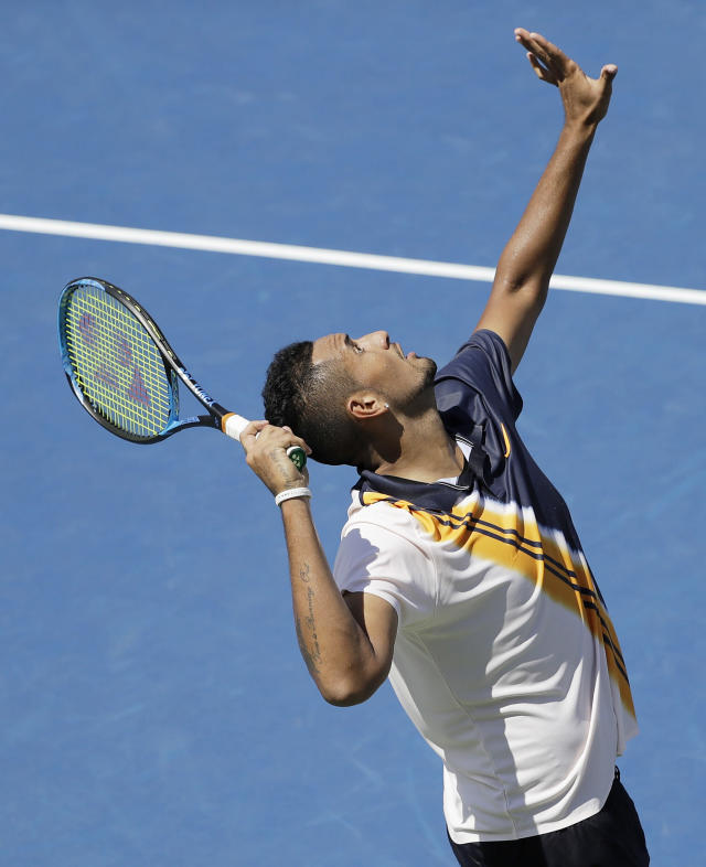 Nick Kyrgios, of Australia, serves to Pierre-Hugues Herbert, of France, during the second round of the U.S. Open tennis tournament, Thursday, Aug. 30, 2018, in New York. (AP Photo/Seth Wenig)