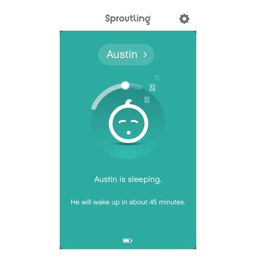 Sproutling screenshot reading 'Austin is sleeping'