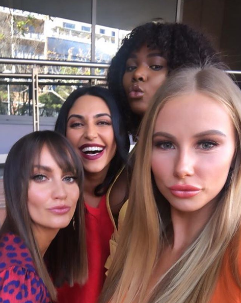 A photo of The Bachelor Australia's Emma Roche, Sogand Mohtat, Vakoo Kauapirura, Rachael Arahill.