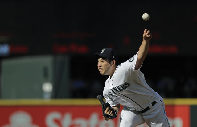 Seattle Mariners starting pitcher Yusei Kikuchi throws against the San Diego Padres during the fourth inning of a baseball game Wednesday, Aug. 7, 2019, in Seattle. (AP Photo/Ted S. Warren)